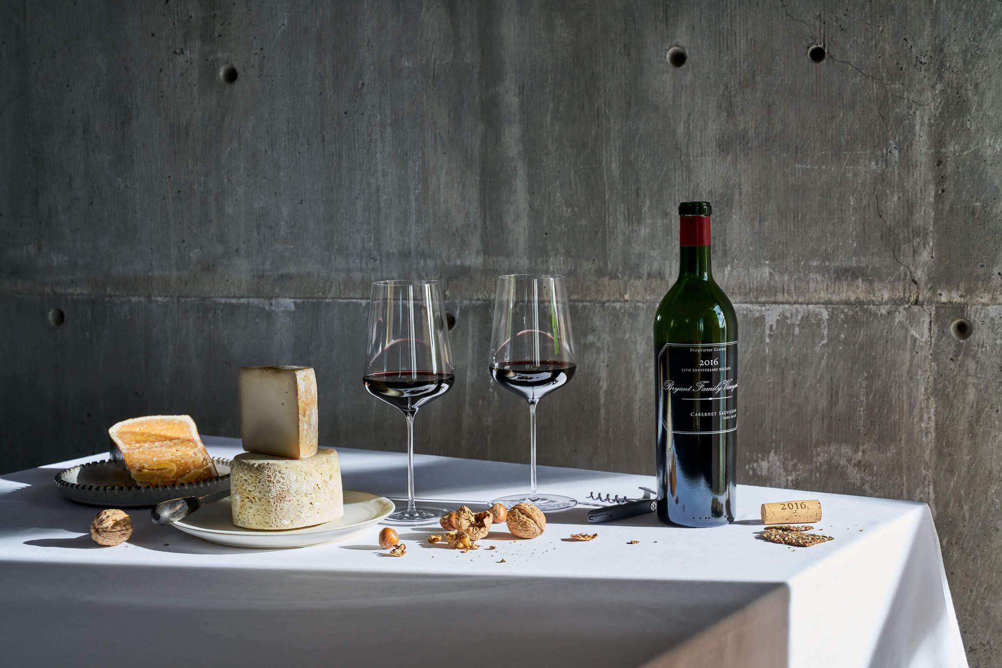 25th Anniversary Release Bryant Family Vineyard Cabernet Sauvignon with Cheese